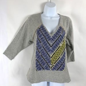 Plenty by Tracy Reese Aztec Embroidered sweater